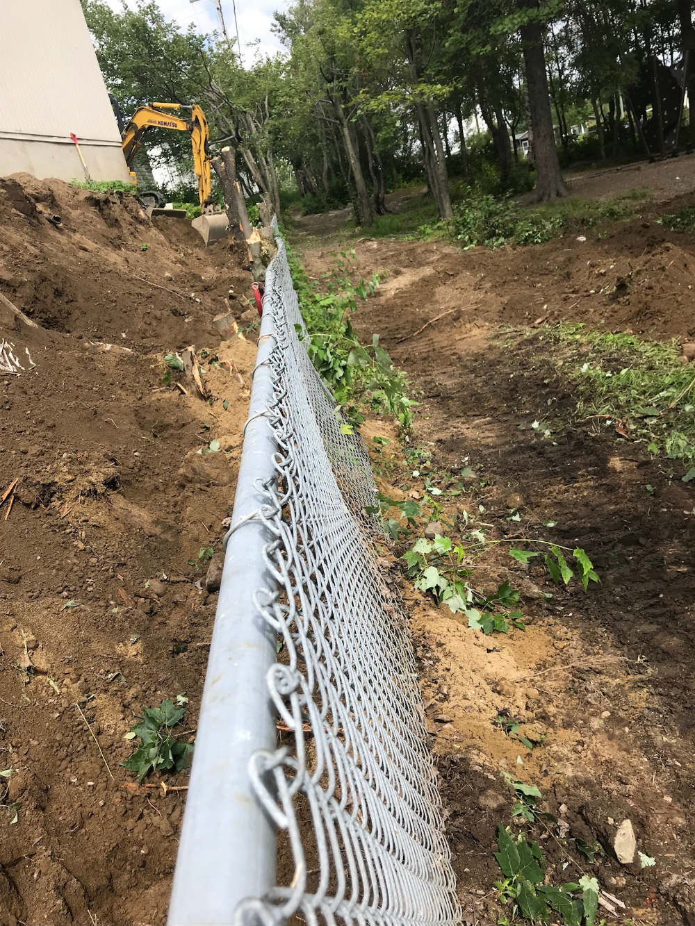 fencing work using excavation